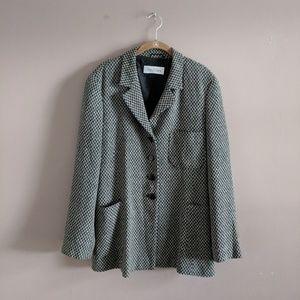 Max Mara Sz 14 Wool Blend Button Blazer Check